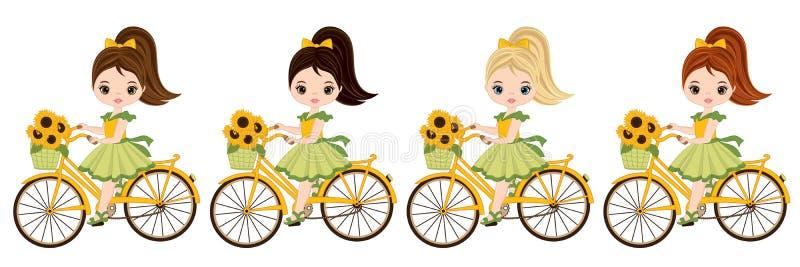 Bambine sveglie di vettore con le biciclette royalty illustrazione gratis