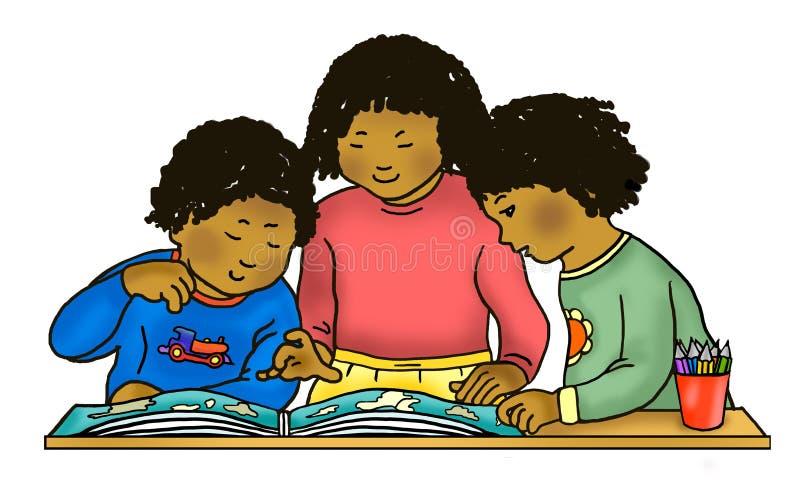 Bambini afroamericani/caraibici che leggono atlante fotografia stock