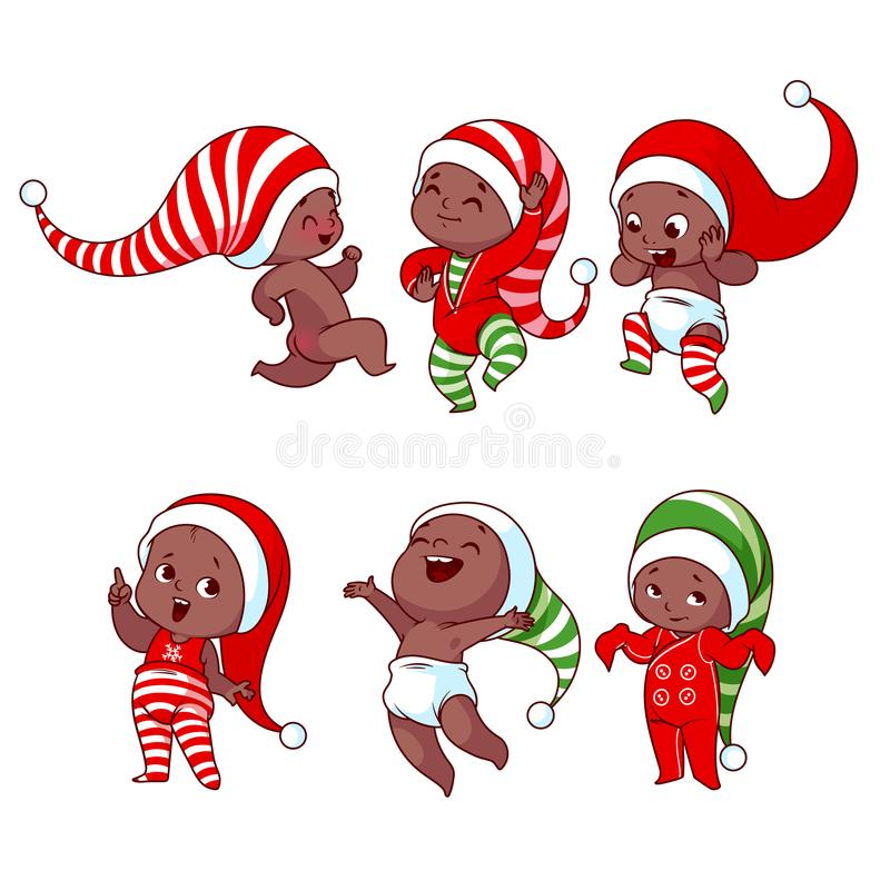 Bambini afroamericani di Natale con differenti emozioni nella varietà illustrazione vettoriale