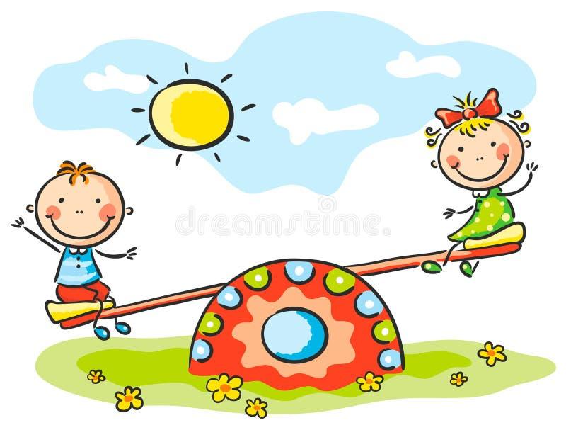 Bambini al campo da giuoco royalty illustrazione gratis