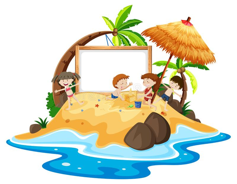 Bambini all'insegna dell'isola illustrazione di stock