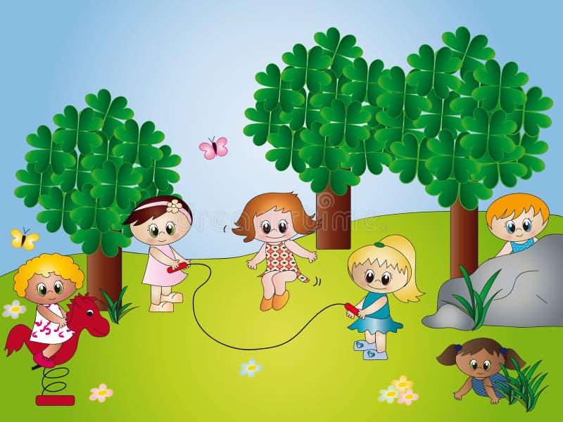 Bambini alla sosta royalty illustrazione gratis