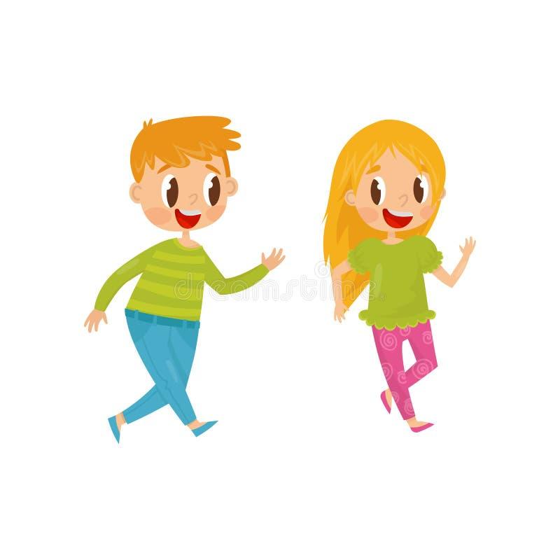 Bambini allegri che giocano il gioco del recupero Tema felice di amicizia e di infanzia Bambini divertendosi insieme Vettore pian illustrazione vettoriale