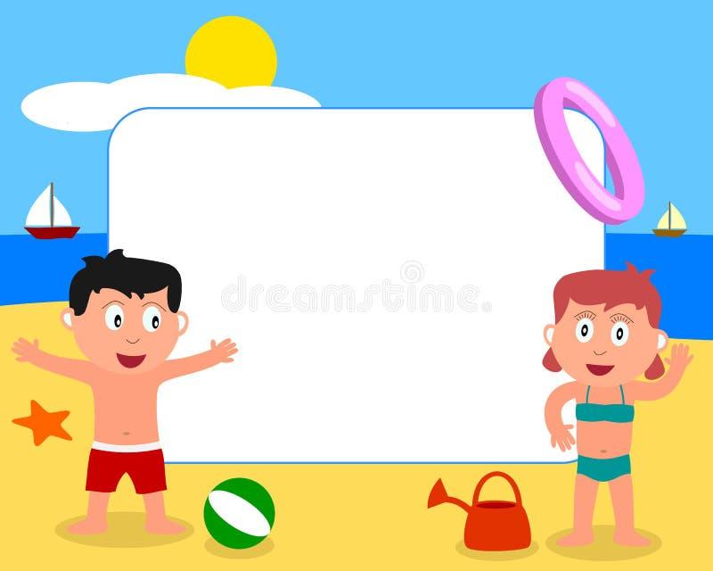 Bambini & blocco per grafici della foto della spiaggia [1] royalty illustrazione gratis