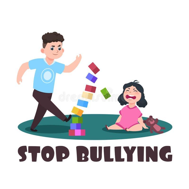 Bambini arrabbiati Ragazzaccio e bambina gridare Smetta di opprimere l'illustrazione di vettore illustrazione vettoriale