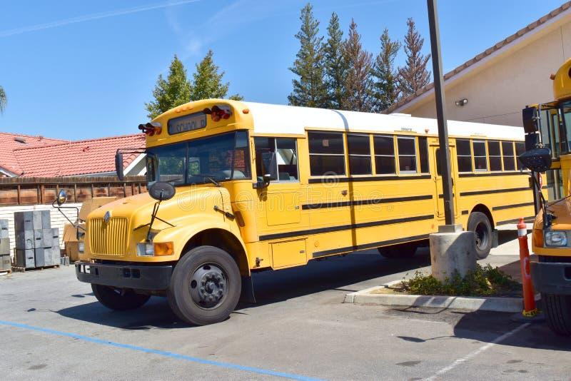 Bambini aspettanti dello scuolabus giallo luminoso immagini stock