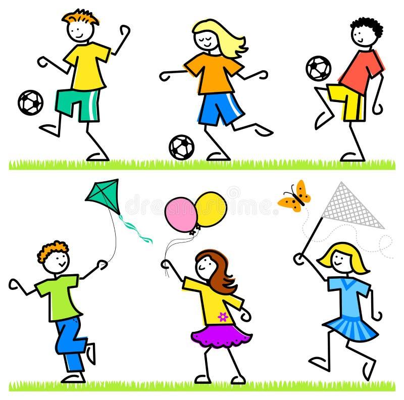 Bambini attivi del fumetto illustrazione vettoriale