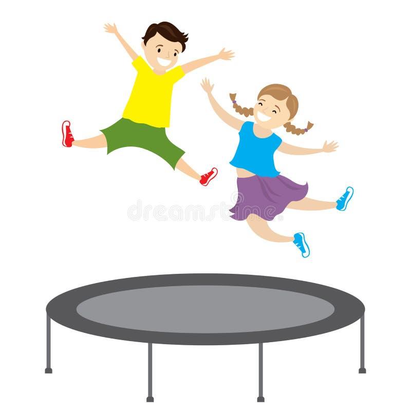 Bambini caucasici felici che saltano su un trampolino illustrazione di stock