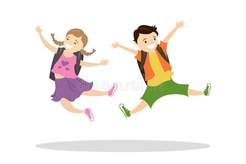 Bambini caucasici felici con gli zainhi in un salto illustrazione vettoriale