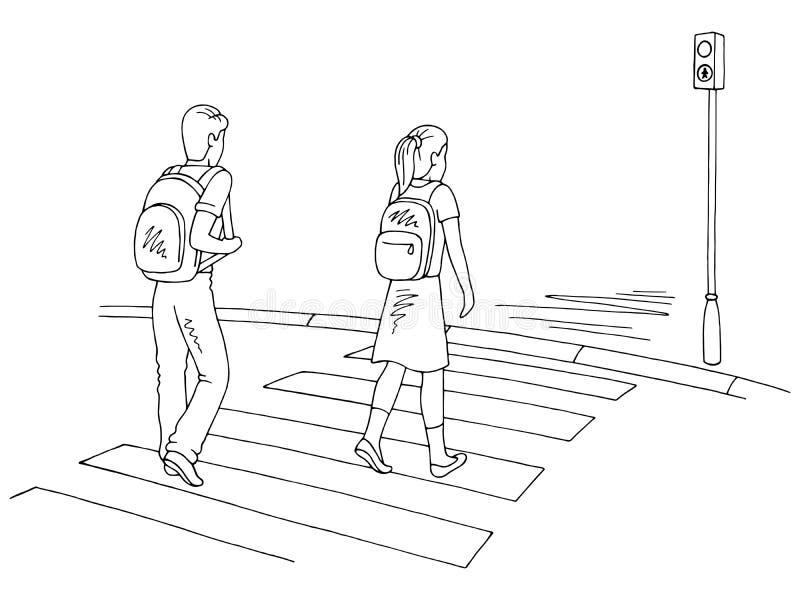 Bambini che camminano al vettore bianco nero grafico dell'illustrazione di schizzo della via di attraversamento illustrazione vettoriale
