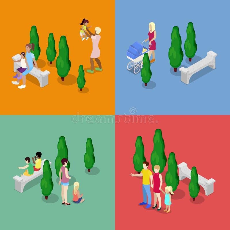 Bambini che camminano con i genitori Concetto 'nucleo familiare' felice Illustrazione piana isometrica 3d illustrazione di stock