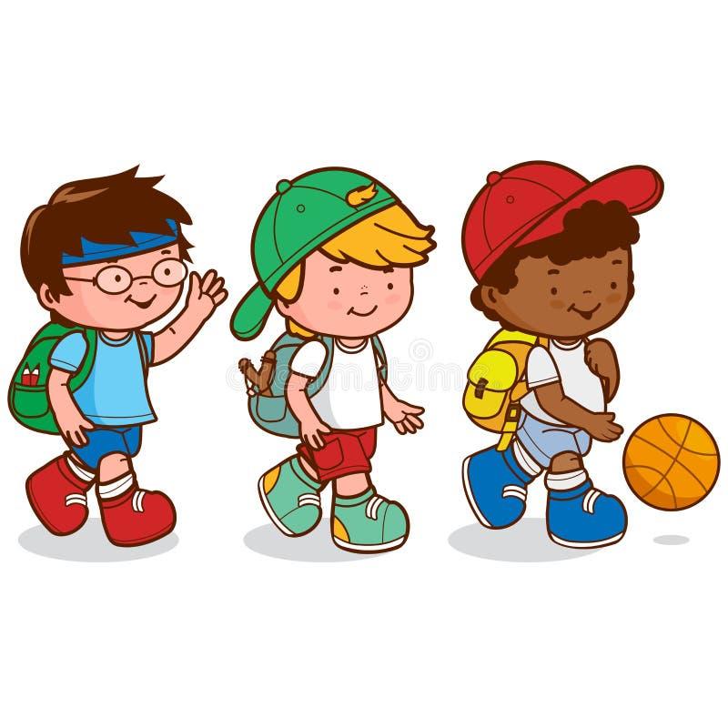 Bambini che camminano per giocare pallacanestro royalty illustrazione gratis