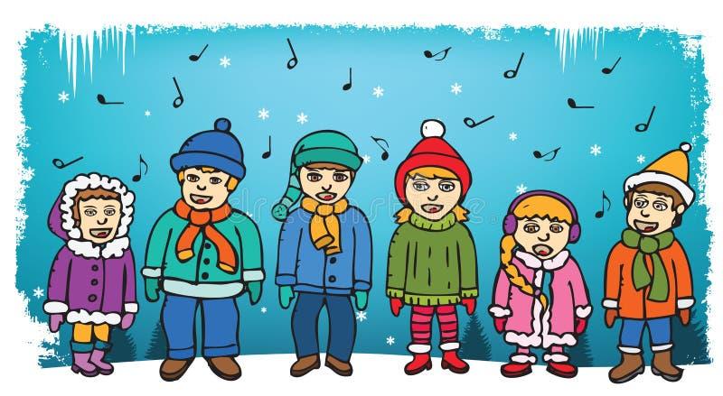 Bambini che cantano i canti natalizii illustrazione di stock