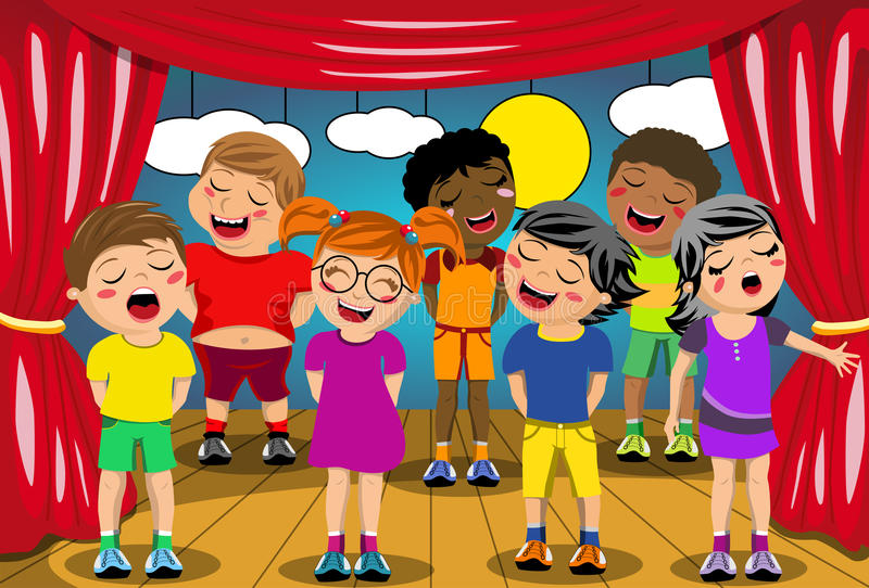 Bambini che cantano il gioco della scuola della fase illustrazione di stock