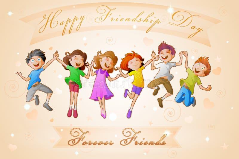 Bambini che celebrano giorno di amicizia royalty illustrazione gratis