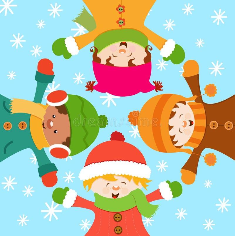 Bambini Che Celebrano Neve Immagini Stock Libere da Diritti