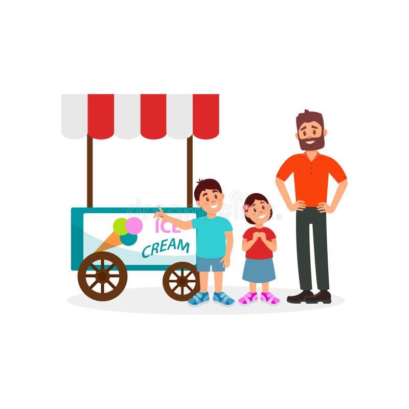 Bambini che chiedono a suo padre di comprare il gelato Papà che spende tempo all'aperto con il suoi derivato e figlio Progettazio illustrazione di stock