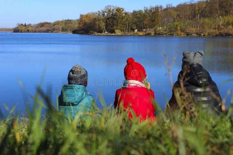 Bambini che considerano un bello paesaggio immagini stock