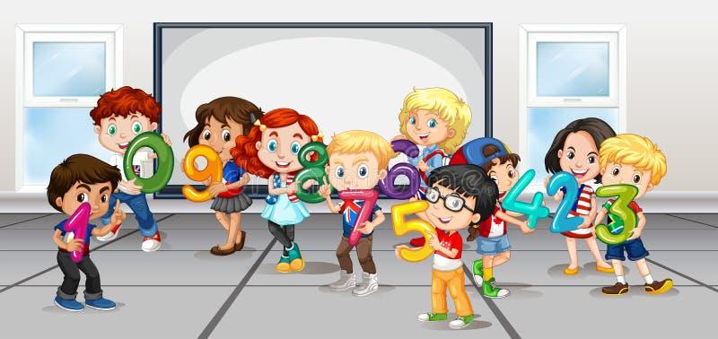 Bambini che contano i numeri nella sala illustrazione vettoriale