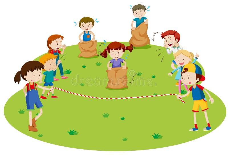 Bambini che corrono nel parco illustrazione vettoriale