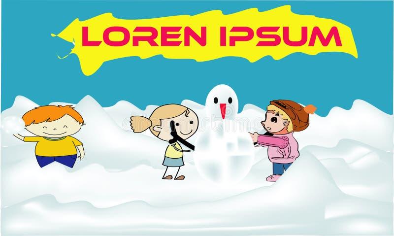 Bambini che costruiscono insieme pupazzo di neve e che hanno lotta della palla di neve in foresta durante le precipitazioni nevos royalty illustrazione gratis