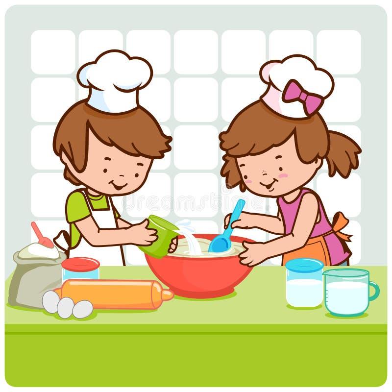 Bambini che cucinano nella cucina. illustrazione vettoriale