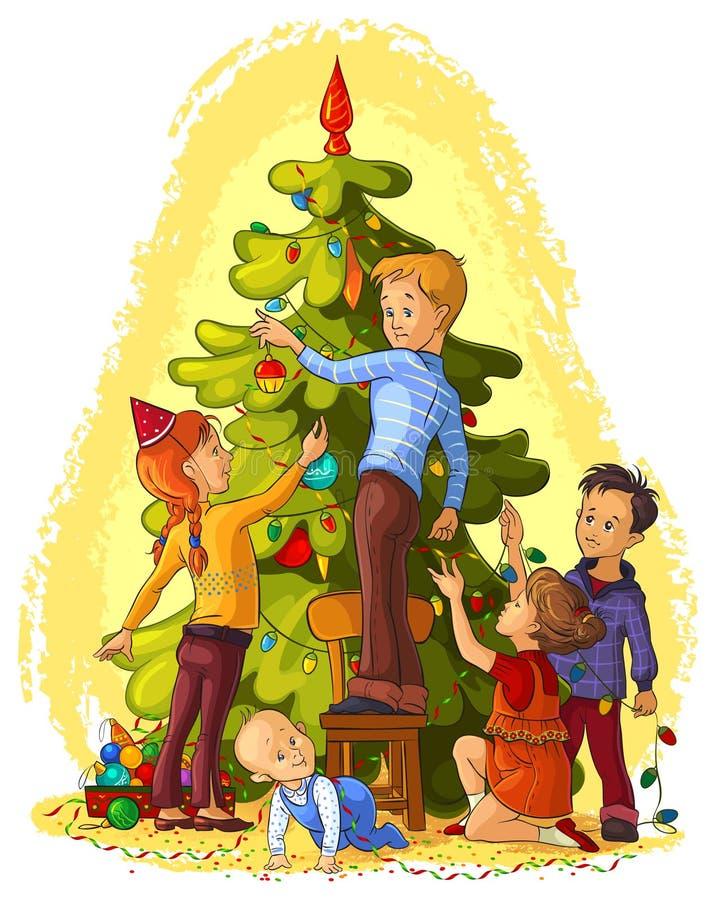 Bambini che decorano un albero di Natale illustrazione vettoriale