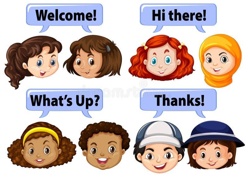 Bambini che dicono le parole gentili royalty illustrazione gratis