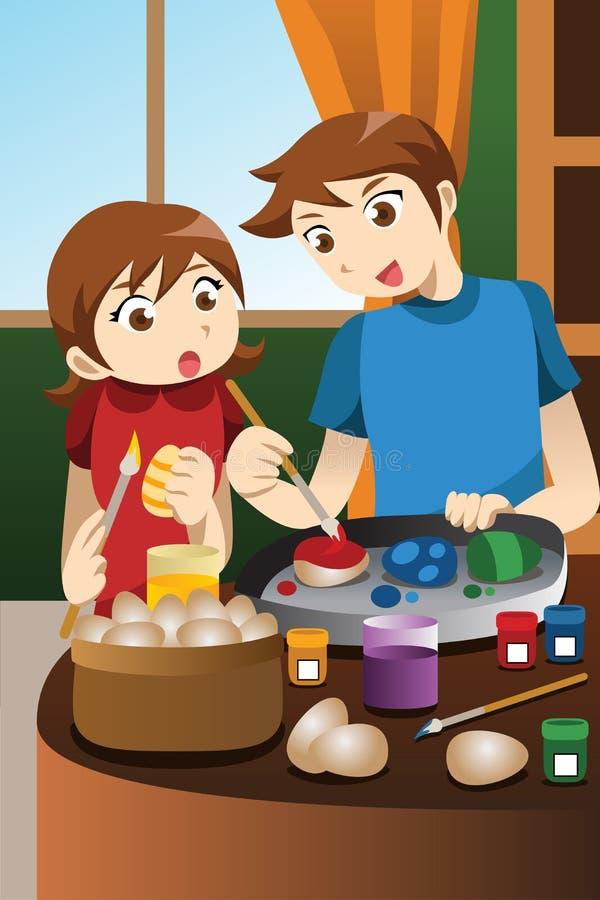 Bambini che dipingono le uova di Pasqua royalty illustrazione gratis