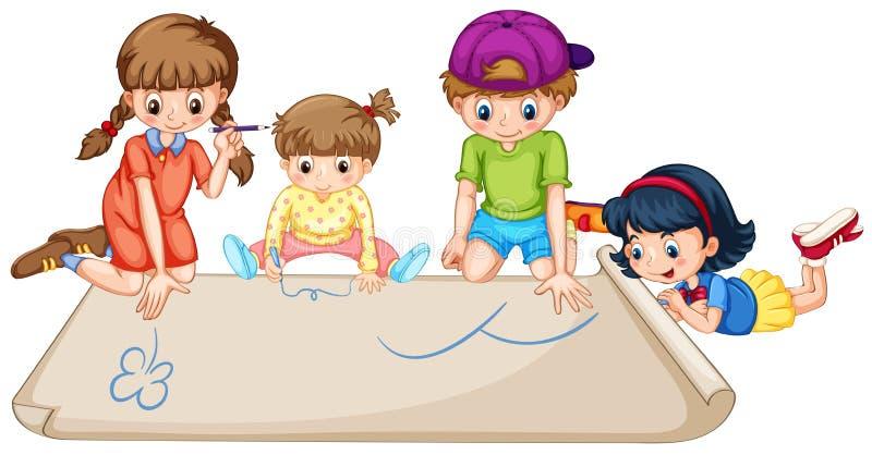 Bambini che dissipano sul documento illustrazione di stock