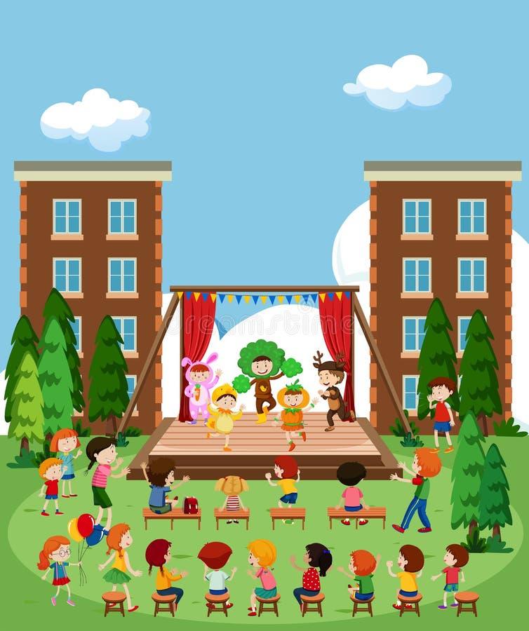 Bambini che eseguono in scena royalty illustrazione gratis