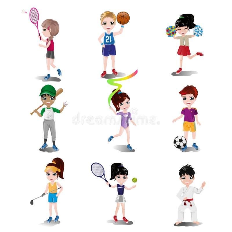 Bambini che esercitano e che giocano gli sport differenti illustrazione vettoriale