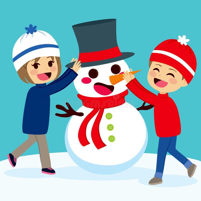 Bambini che fanno pupazzo di neve royalty illustrazione gratis