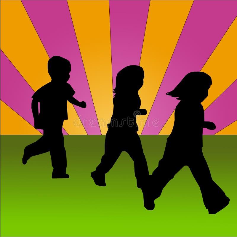 Bambini che funzionano su una priorità bassa colorata illustrazione vettoriale