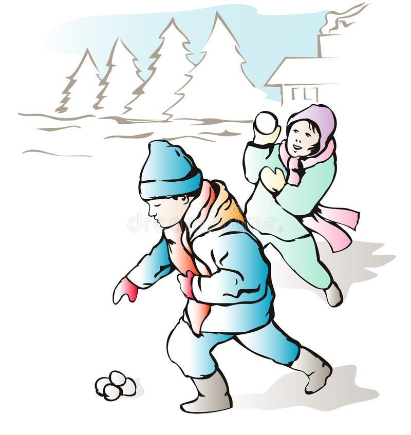 Bambini che gettano le sfere della neve fotografia stock libera da diritti