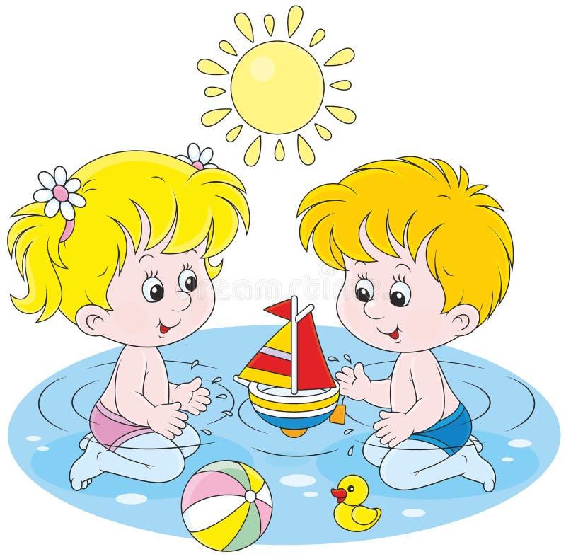 Bambini che giocano in acqua royalty illustrazione gratis