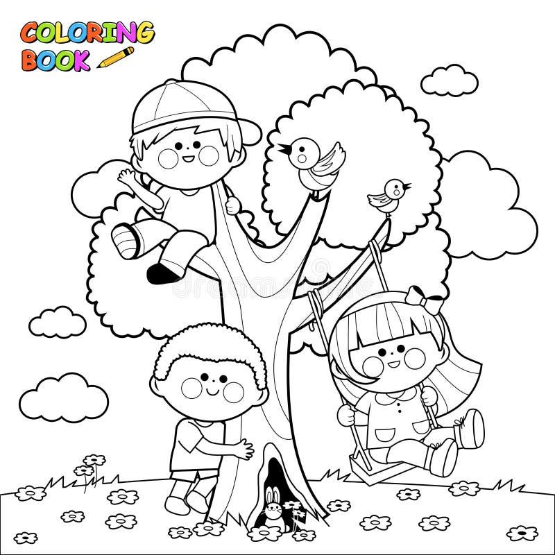 Disegno Da Colorare Bambini Che Giocano.Bambini Che Giocano Ad Una Pagina Del Libro Da Colorare Dell