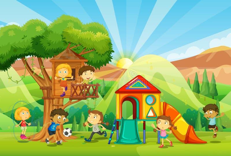 Bambini che giocano al campo da giuoco illustrazione di stock