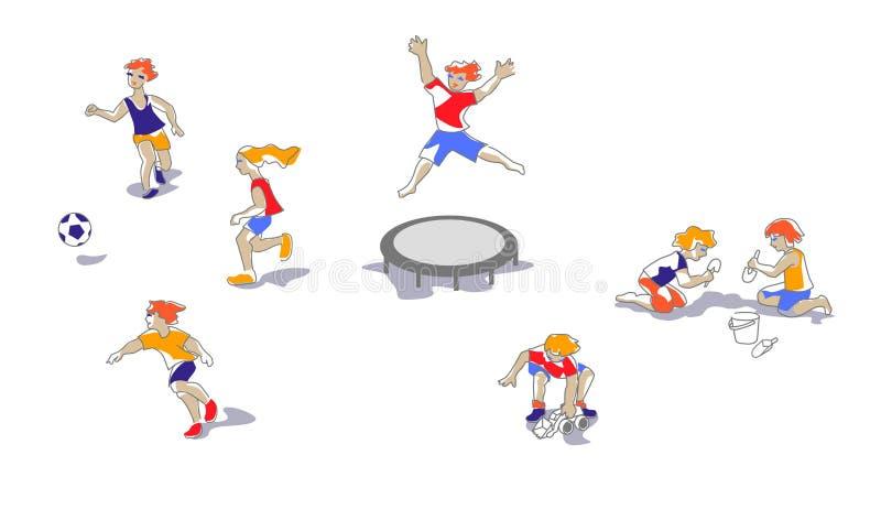 Bambini che giocano al campo da giuoco del ` s dei bambini illustrazione vettoriale