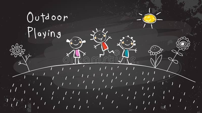 Bambini che giocano all'aperto royalty illustrazione gratis