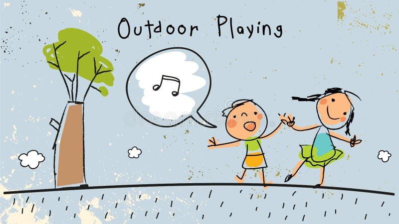 Bambini che giocano all'aperto, cantando illustrazione di stock