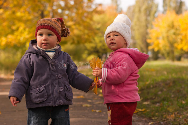 Bambini che giocano in autunno immagini stock libere da diritti