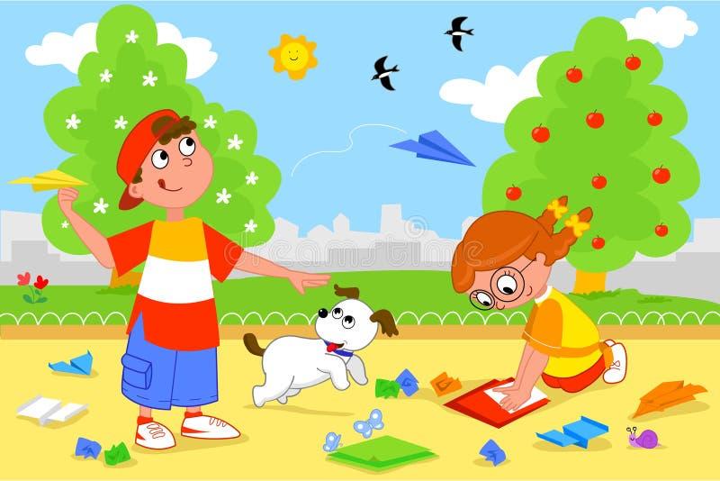 Bambini che giocano con gli aeroplani di carta royalty illustrazione gratis
