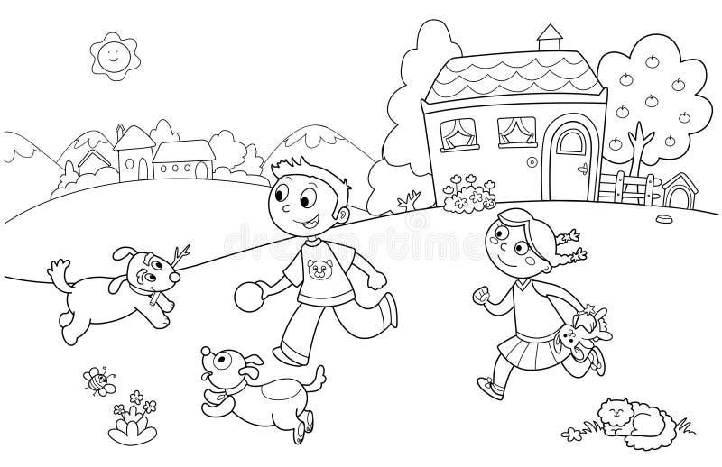 Bambini che giocano con i cani illustrazione di stock