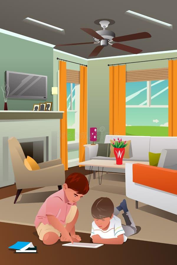 Bambini che giocano con il PC della compressa nel salone royalty illustrazione gratis