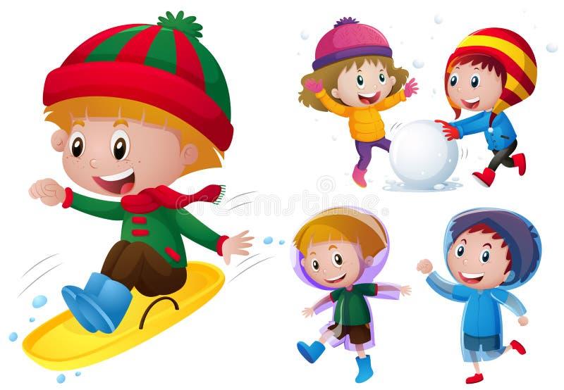 Bambini che giocano con la neve e la pioggia illustrazione di stock