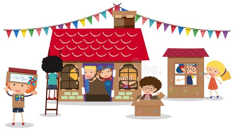 Bambini che giocano con le caselle illustrazione di stock