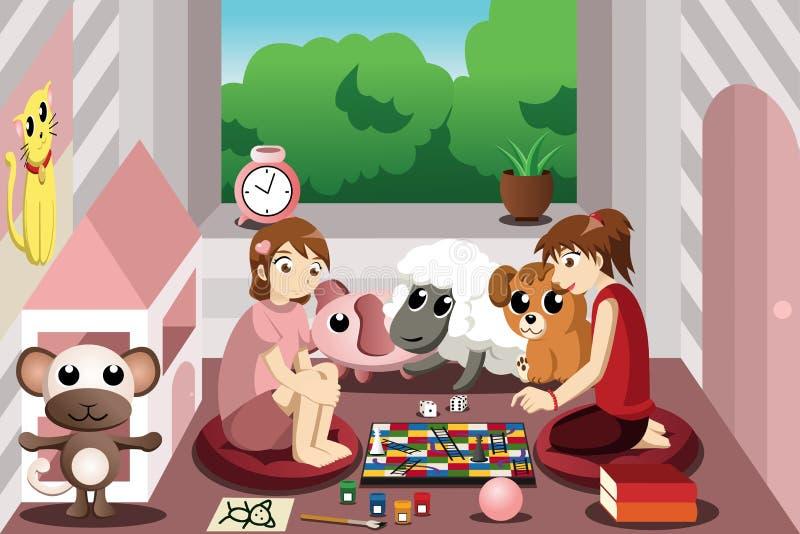 Bambini che giocano dentro una casa sull'albero illustrazione di stock