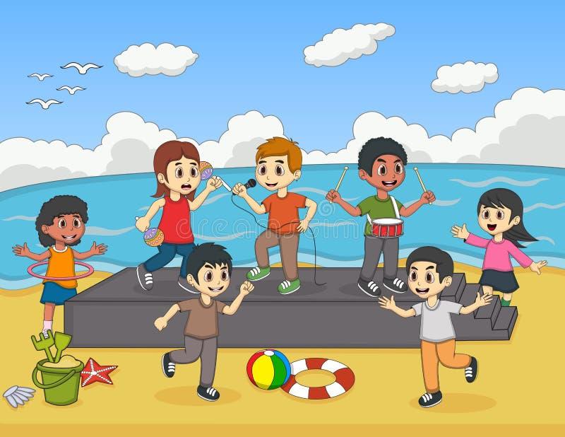 Bambini che giocano e che cantano sull'illustrazione di vettore della spiaggia royalty illustrazione gratis