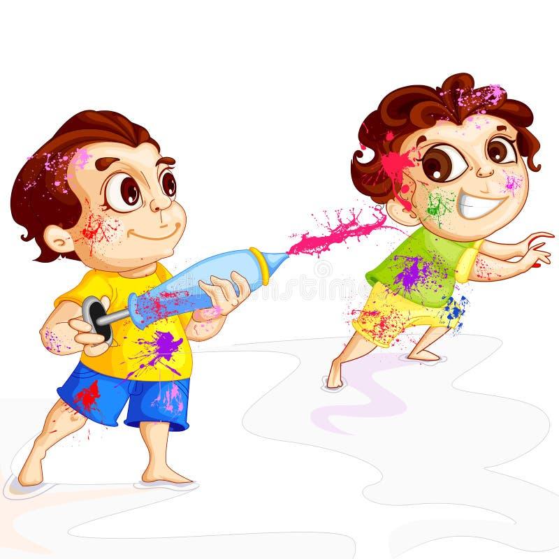 Bambini che giocano festival di Holi illustrazione di stock